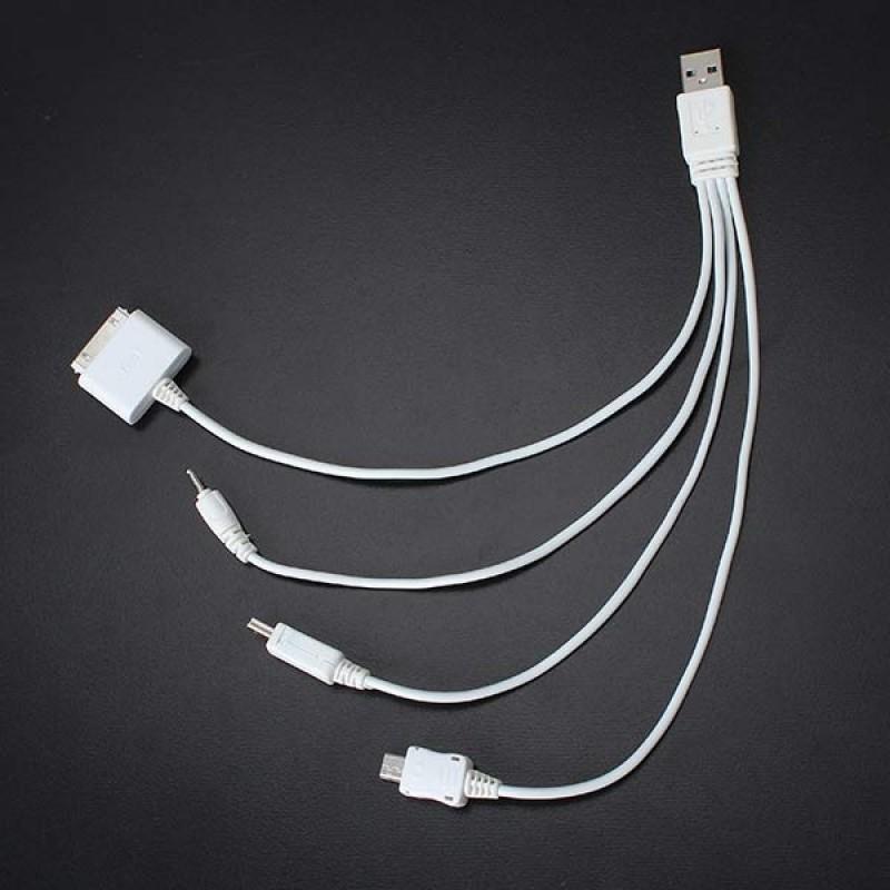 4-i-1 oplader kabel (30bens, microUSB, miniUSB, gammelt nokia-stik)