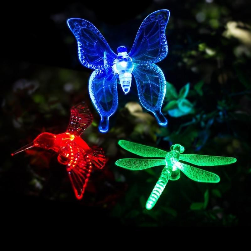 Solcelle LED Sommerfugl/Guldsmed/Kolibri, 3-pak, skifter farve