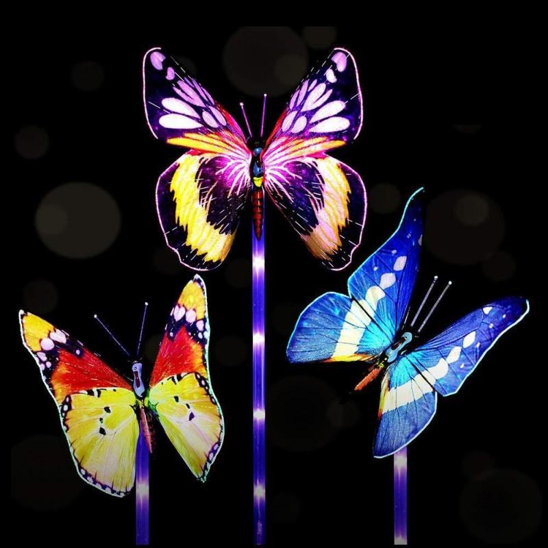 Solcelle LED Sommerfugle i optisk fiber, 3-pak, skifter farve