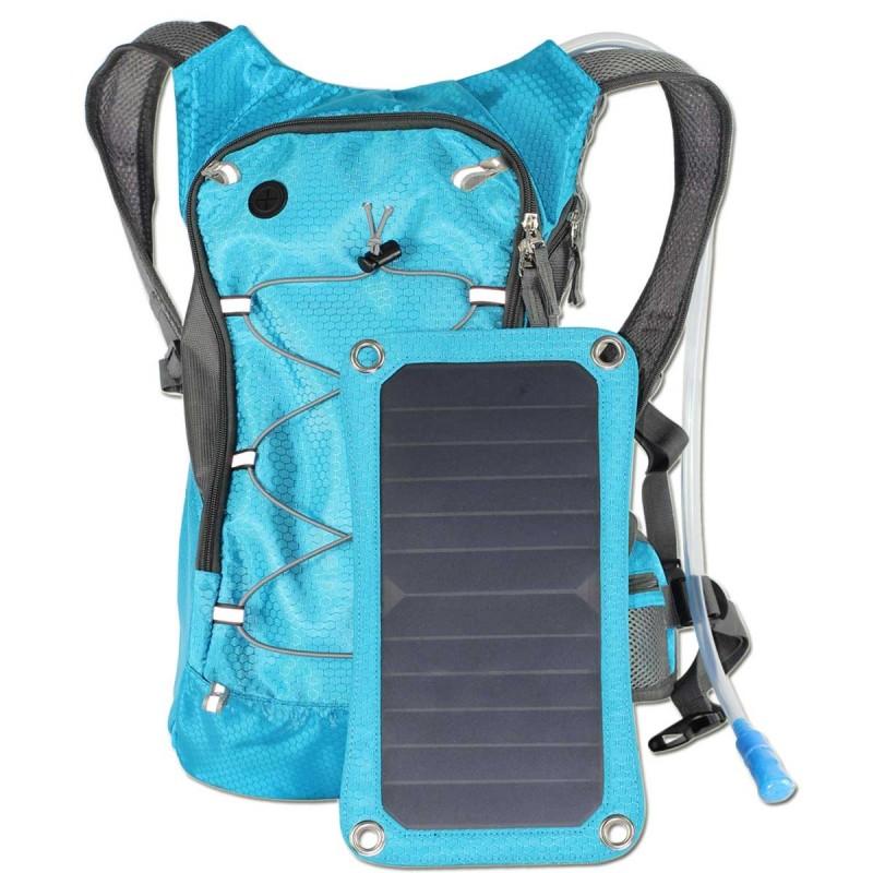 Blå Rygsæk med 6,5W Solcellepanel