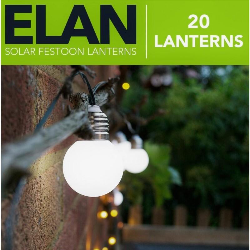 ELAN Solcelle partylyskæde (20 pærer, Hvid)