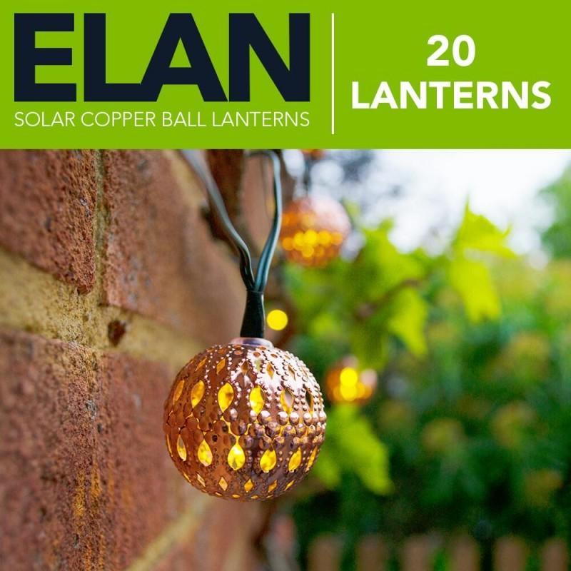ELAN Solcelle Kobber Lanterner (20LED, Varm Hvid)