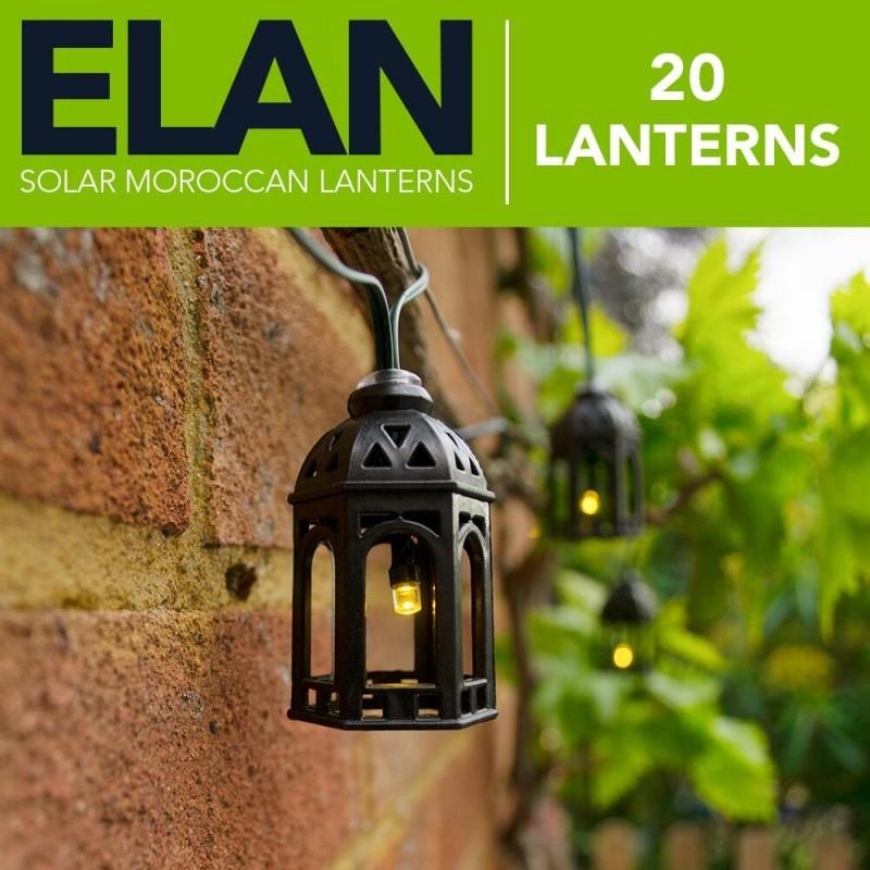 ELAN Solcelle Lanterne lyskæde (20LED, Varm Hvid)