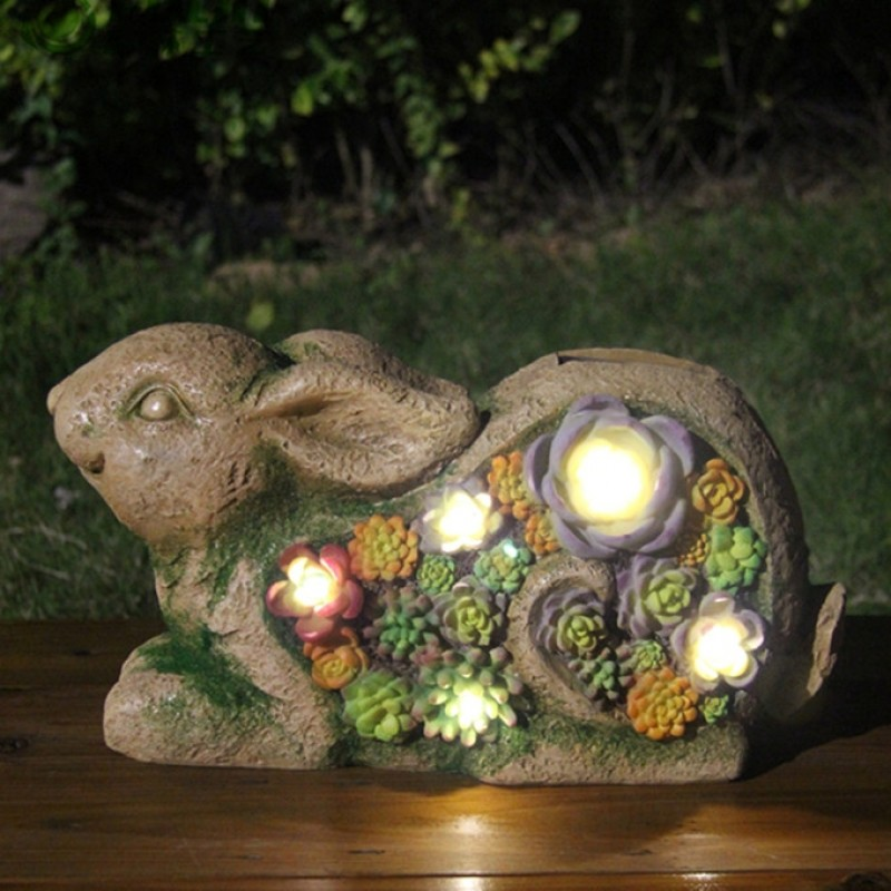 """Solcelle havefigur med lys """"Kanin"""""""