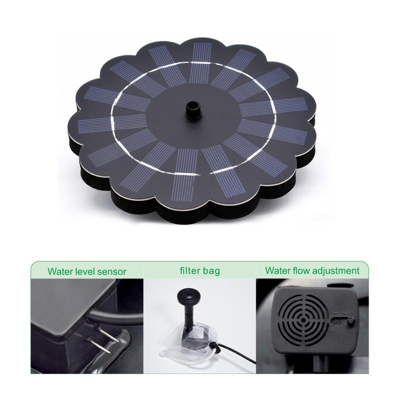 Flydende solcellespringvand med batteri