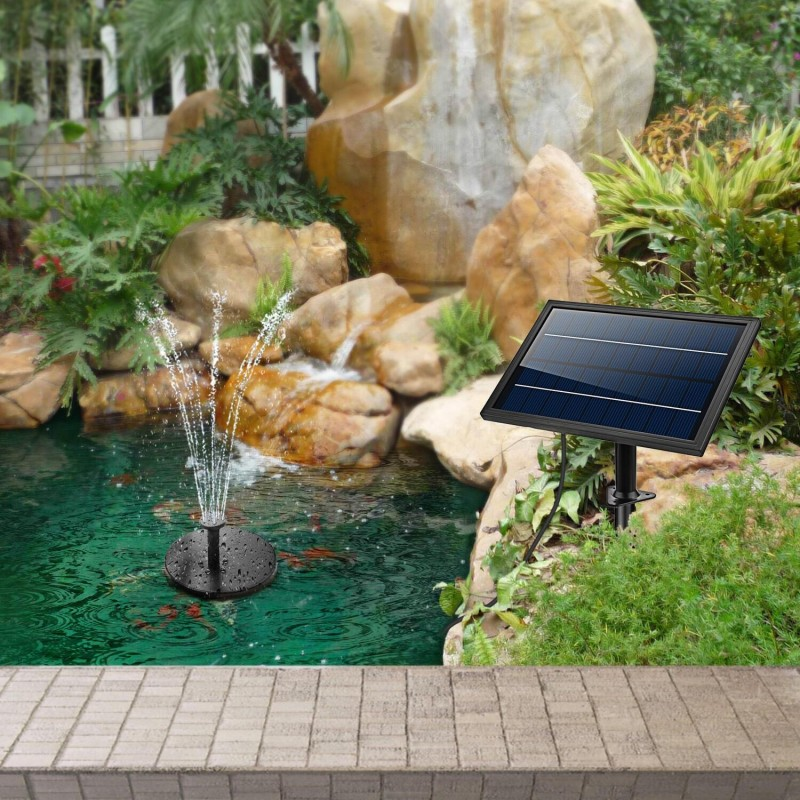Rundt solcelle springvand(8W) med batteri og lys