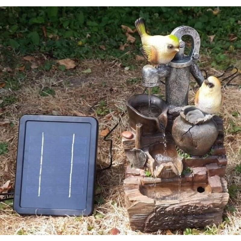 """Solcelle fontæne med batteri """"Fugle på Vandpumpen"""""""