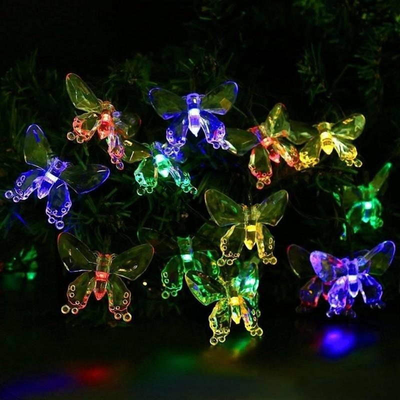 Aurora solcelle partylyskæde med sommerfugle (50 LED, flerfarvet)