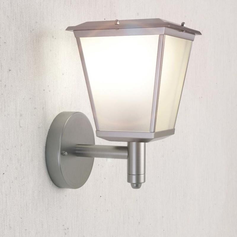 Windsor Solcelle Væglanterne i rustfrit stål med varmt hvidt lys