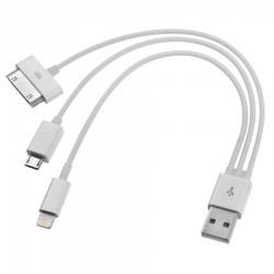 3-i-1 oplader kabel (30bens, microUSB, 8bens)