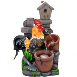 """Solcelle fontæne med batteri """"Hanen og Fuglehuset"""""""