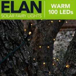 Solcellelyskæde, 100LED, Varm hvid