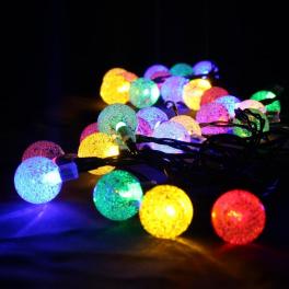 Aurora solcelle partylyskæde med kuglelys (50 LED, flerfarvet)-20