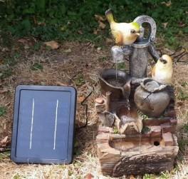 """Solcelle fontæne med batteri """"Fugle på Vandpumpen""""-20"""