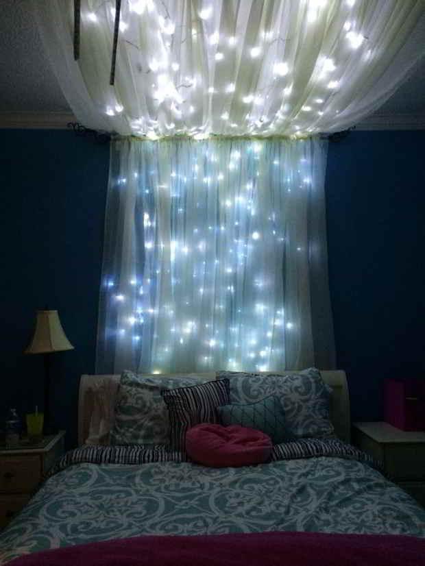 Lyskæder i soveværelset